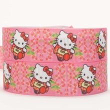 "50yards 7/8 "" 22 mm ribbons and bows with lovely hello kitty cartoon grosgrain ribbon party decoration gift ribbon Free shipping"