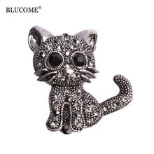 Blucome Cute Little Cat Brooches Pin Up Jewelry For Women Suit Hats Clips Corsages Brand Bijoux Brooch Bijouterie Free Shipping