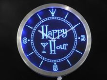 nc0340 Happy Hour Bar Beer Glass Neon Sign LED Wall Clock(China)