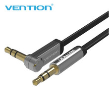 VENTION 3.5mm Jack Audio Cable 90 Degree Right Angle Flat Aux Cable 2m for iPhone Car MP3/4 Headphone Beats Speaker Aux Cord(China)