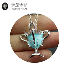Horcrux Convert Hellgate Hutch Pike Cup Pendant Necklaces Hufflepuff Enamel Pendant Alloy Necklace Direct Manufacturers(China)