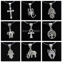 9 styles Tibetan Vintage Silver Lucky Tree/Elephant/Turtle/Owl/Hand of Fatima Khamsah Pendants Ankh Necklace Gift MN481(China)