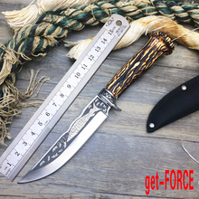 get-FORCE Hot Sales!Hunting knife Straight knife 5cR15MOV fixed blade  handle survival camping rescue knife Outdoor EDC Tools