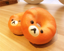 New Cute 10 cm jumbo Cartoon bear donut squishy charm / mobile phone strap / Retail