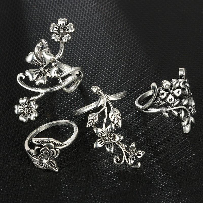 15pcs/set Punk Knuckle Rings Sets for Women Vintage Anel Flower Midi Finger Rings Jewelry Boho Silver Party Bague Femme 2019