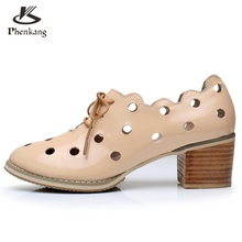 Genuine leather big woman shoes US size 9.5 designer vintage High heels round toe handmade beige pumps 2017 sping oxford shoes