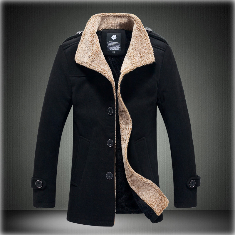 Mens Lamb Stand Collar Single-Breasted Jackets Solid Color Man Bomber Coat Windbreaker Trench Coat Male Raincoat Casual Overcoat