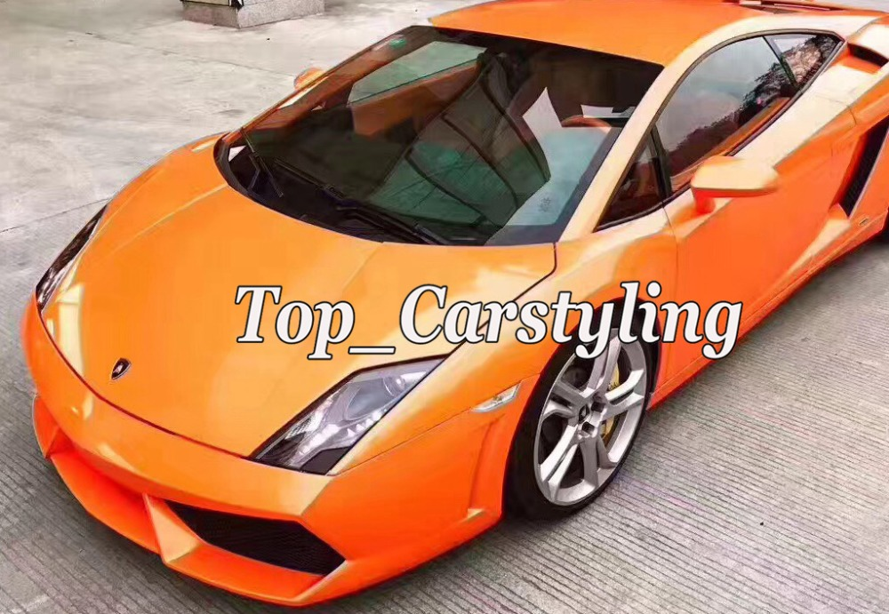 Gloss orange color flow with gold finish car wrapping film (5)