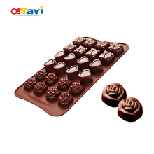 Chocolate Mold Cute Lovely Rose Silicone Fondant Cake Chocolate Mold Kitchen Sugarcraft & Chocolate Molds DIY Chocolate Moulds(China)
