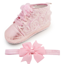 Delebao Baby Kids Toddler Sapato Infant Rose Flower Soft Sole Girl First Walker Handmade Baby Designers Shoes Style Wholesale(China)