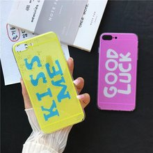 New 2017 For iPhone 7 plus Hollow Case Quotes Kiss me Good luck Coque For Apple iPhone 6 6s plus Women Gilr Ladies Case Cover