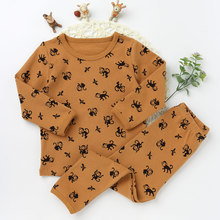 Fashion Children Pajamas Suits Girls And boys Cotton O-neck Clothing Sets Character Pattern 2017 Long Sleeve Top Tee Long Pants