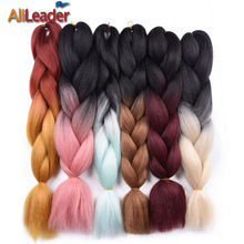 AliLeader Ombre Braiding Hair For Crochet Twist Braid, Two Tone Purple Pink Red Crochet Hair Extension Kanekalon Synthetic Hair