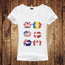Wholesale American Flag Kiss Design Print Girl/Women T Shirts Summer UK Flag Printed Tshirts Creative Women Short Sleeve Tee Top