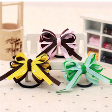 korean party gifts big hairbows child girls hair ties bows elastic satin flower headband grosgrain ribbon bows accessories ST-13