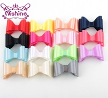 Nishine 20pcs/lot Newborn Luxe Hair Bows For Headbands Hair Clips PVC Satin Bow For Kids Girls Hair Accessories(Color:15 Colors)(China)