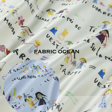 Cartoon printed couture fashion fabric, letter, peolpe pattern,rice,purple,sheen,sew for top,dress,coat,jacket,craft by the yard