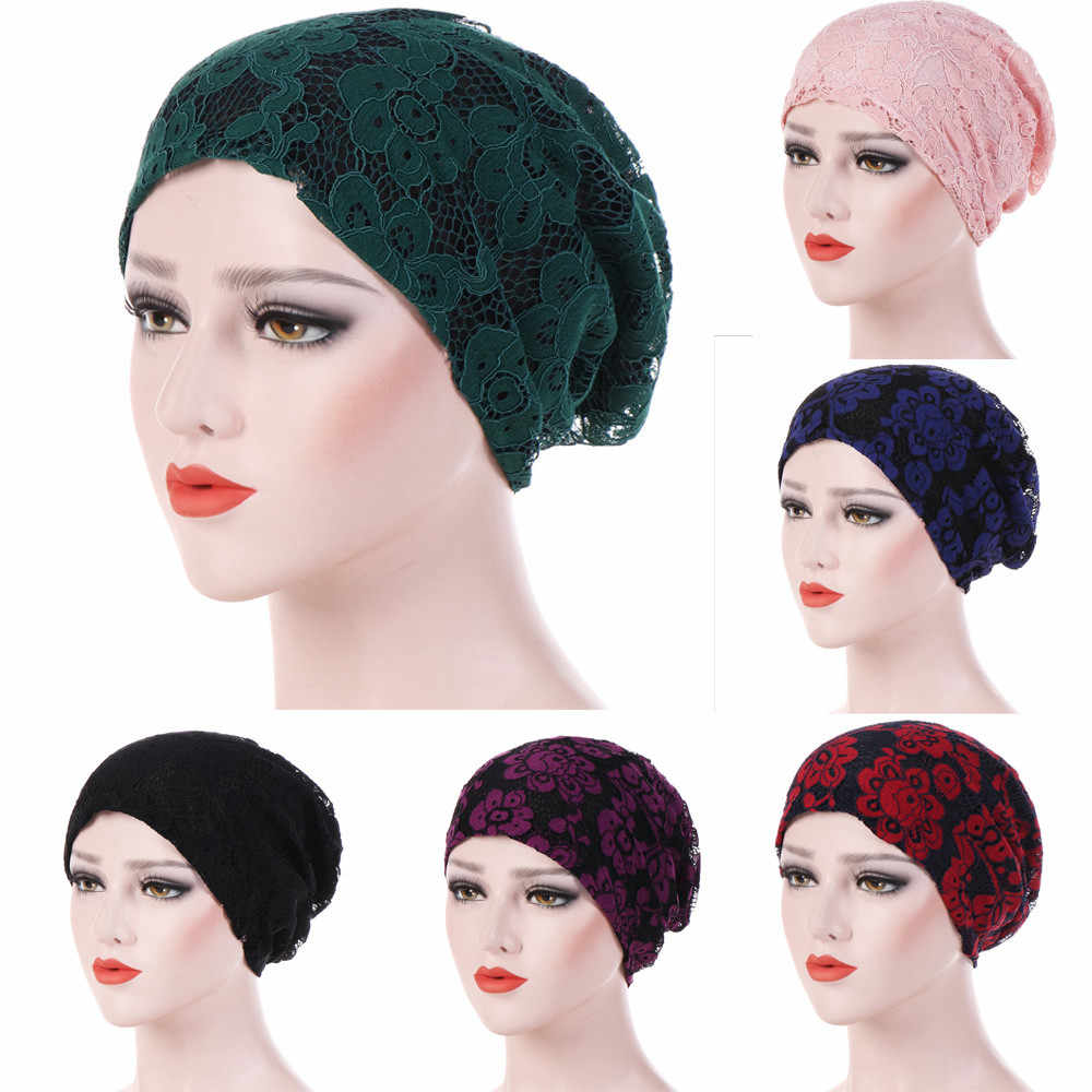 c473c474d9c India Muslim Turban Women Headband Ruffle Cancer Chemo Hair Hats Floral  Lace Beanie Bandanas Scarf Head