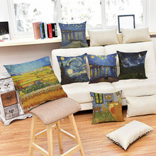 Famous painter Van Gogh rural theme works Cushion oil painting Style Home Decorative sofa Chair Pillow Pillowcase 45x45 cm(China)