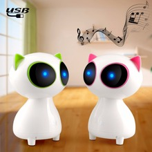 1pcs Mini Speaker Cute cat Multimedia notebook desktop computer speakers small stereo subwoofer USB speakers For iPhone Samsung