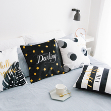 Wholesales Black White Tropical Cushion Cover Stripe Letter Dots Soft Suede Fabric Home Decorative Pillow Case Sofa Bed 45x45cm(China)
