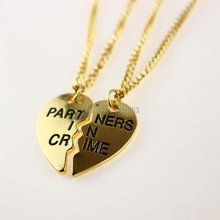 10pcs/lot Celebrity Best Friend Necklace 2 Parts Broken Heart Partners In Crime Necklaces & Pendants For Girlfriends Gifts