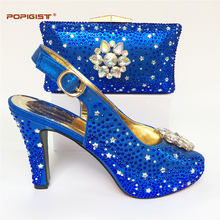 Flower Rhinestone nice African shoe and bag set for party Italian shoe with matching bag new design ladies matching shoe and bag