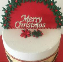 Merry Christmas - Sparking Silver Diamante Rhinestone Cake Topper Christmas Party Decoration Cake Stand