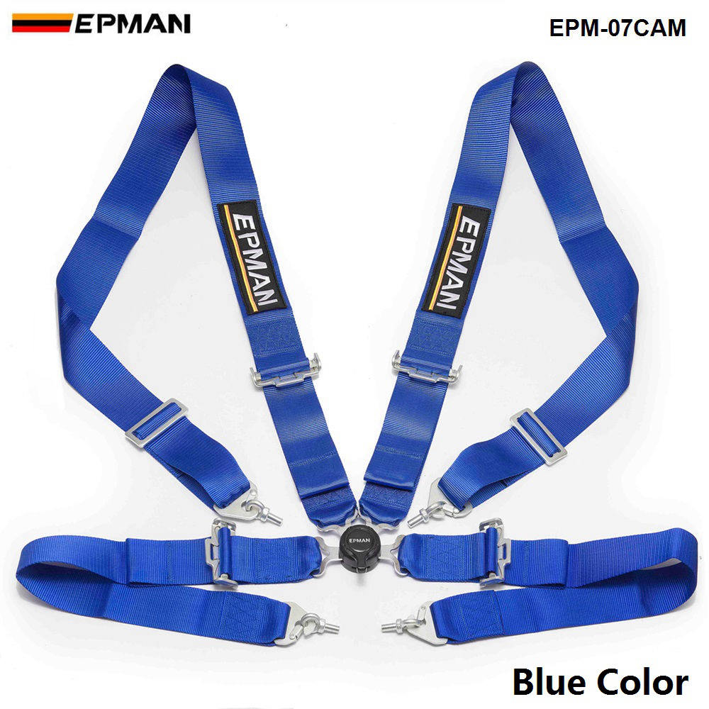 """For Ford 4 Point 2/"""" Strap Snap Adjustable Harness Safety Shoulder Seat Belt Blue"""