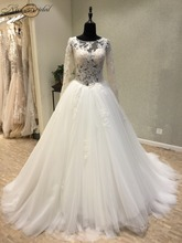 Buy Vestido de casamento New Elegant Wedding Dress 2018 Scoop Long Sleeves Chapel Train Appliques Tulle Ball Gown Bride Dresses for $251.10 in AliExpress store