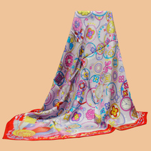Da  Hua   Boutique 1: 1 brand 100% silk scarf scarves 90 silk twill scarves printed shawl Pink and purple