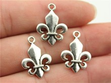 WYSIWYG 10pcs 22*18mm 2 Colors Antique Silver, Antique Bronze Fleur De Lis Charms(China)