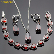 Lan Classic Choker Water Drop Shaped Jewelry Sets Red Garnet AAA Zircon For Necklace Pendant /Earring /Bracelet Free Shipping(China)