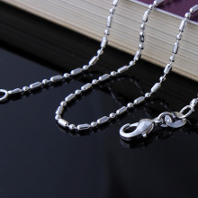 silver plated bamboo chain necklace for engagement length 16 18 20 22 24 26 28 30 inch new cheap beads necklace chains wholesale