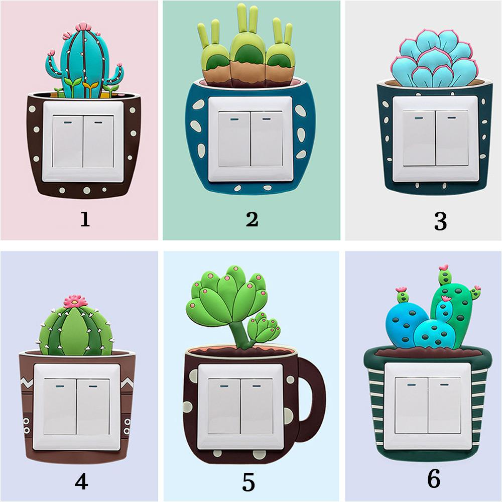 Cute Cartoon 3d Cactus Fluorescent Wall Silicone On Off Switch - Vinyl-decals-to-decorate-light-switches-and-outlets