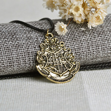 The Harry Potter Hogwarts Crest Necklace Rope Chain Necklace Jewelry Hogwarts School Of Witchcraft And Wizardry Cord Necklace(China)