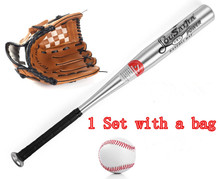 1set  Aluminum beisbol Baseball Bat +glove +ball bate taco de basebol beisebol Hardball 24 inches for kids gift foamposite