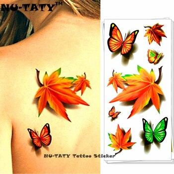 NU-TATY Maple Leaf Clover 3D Временные Татуировки Боди-Арт Флэш Татуировки Наклейки 19*9 см Водонепроницаемый Татуировки Домашнего Декора Стикер стены