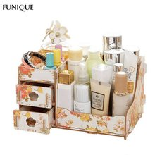 FUNIQUE Wooden Storage Box Jewelry Container Makeup Organizer Case Handmade DIY Assembly Cosmetic Organizer Wood Box For Office(China)