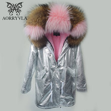 AORRYVLA 2017 New Winter Jacket Women Parka Silver Pu Real Raccoon Fur Collar Hooded Coat Long Length Casual Winter Outer Wear(China)