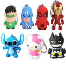 The avengers iron man Stitch LED keychain with light sound 2016 New Spiderman Hulk Captain America Bat Man party decoration