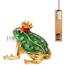 1.9'' Metal Figurine Frog Trinket Box Ring Holder Earring Jewelry Stands Storage Box Wedding Jewelry Case Souvenirs Gift Crafts