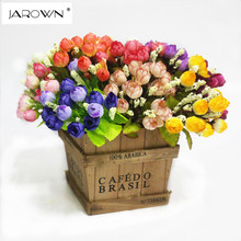 Colorful Silk Flowers artificial flower 15 heads Mini Rose Home Decor for wedding small roses bouquet decoration(China)