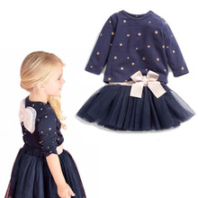 Little Girls Long Sleeve Shirts Top Chiffon Tutu Skirts 2 pcs Set Outfits 2017 Fashion Children's Boutique Kids Clothing Navy