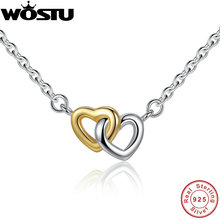 100% Real 925 Sterling Silver & Gold Color United in Love Heart Pendant Necklaces For Women Lady Original Jewelry Gift CRN011