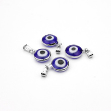 Wholesale 10pcs/lot Alloy Metal Silver Resin Stone Blue Round Evil Eye Charms Pendants Jewelry Findings For DIY Necklace(China)