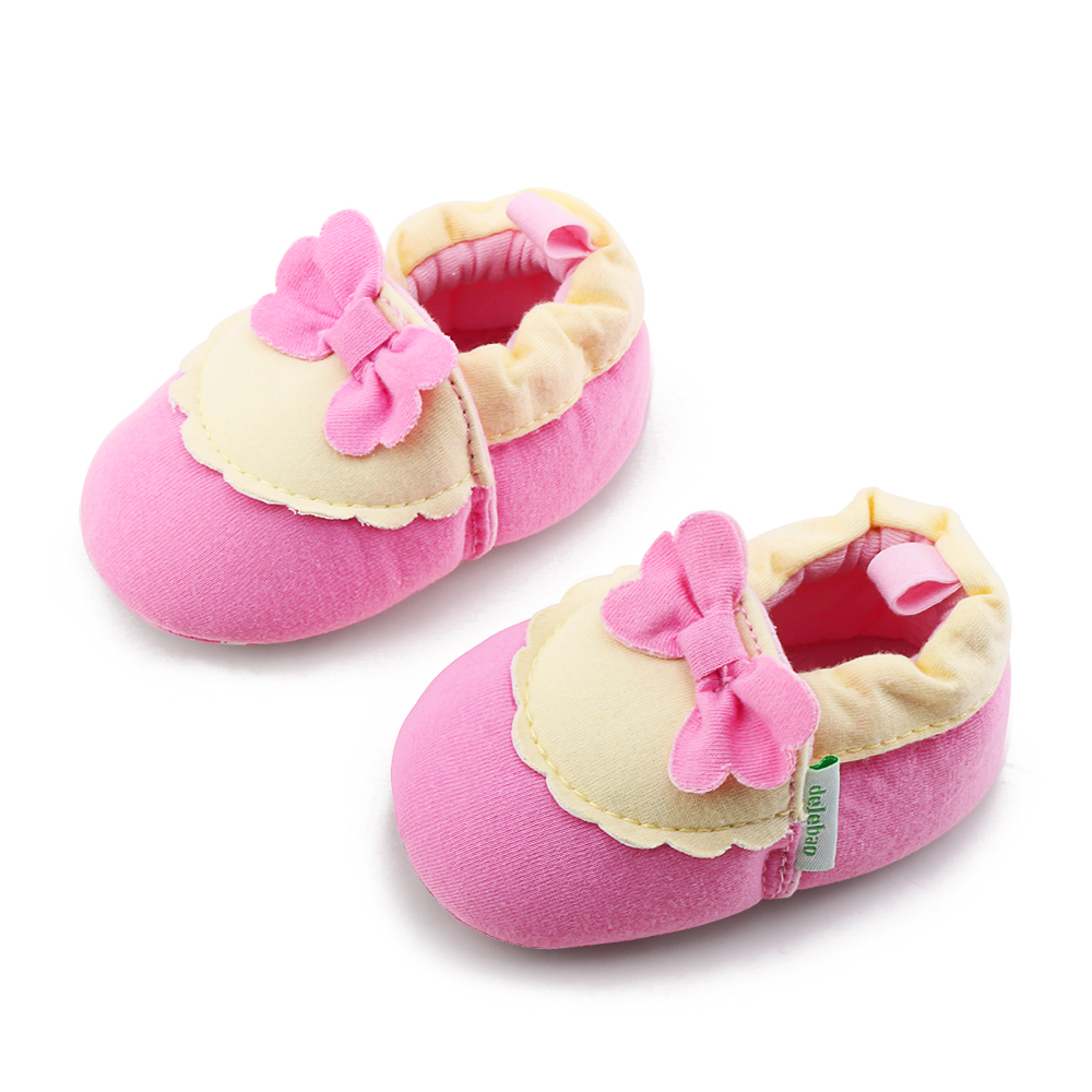 Cotton Fabric Butterfly-knot Shallow Slip-On Baby Casual Shoes Floral First Walkers For 0-18 Months Baby Boy Girl Toddlers