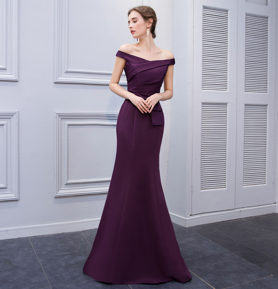 BeryLove Simple Mermaid Purple Satin Evening Dresses 2018 Long Off Shoulder Evening Gowns Formal Evening Dress Prom Dress 1