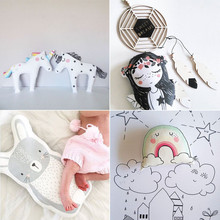 Lucky Boy Sunday Cute Rainbow Unicorn Horse Fox Little Girl Bear Rabbit Cushion Pillow Toys Baby Appease Dolls Home Decor