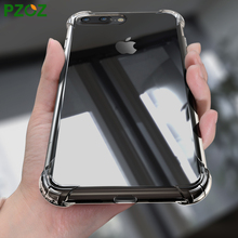 PZOZ For iphone7 Case Silicone Cover For iphone 7 Plus Transparent Color Slim Shockproof Phone Protection Soft Shell i7 4.7 5.5
